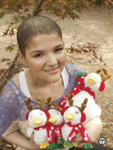 A limited-edition plush holiday version of a well-known duck is being used to raise money to fight children's cancer.